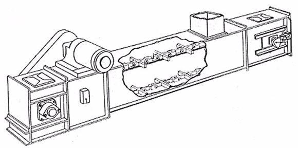 buried scraper conveyor structure